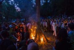 ZAPORIZHIA, UCRÂNIA 21 DE JUNHO: Comemorando a noite 21 de Kupala, 2014 i Fotografia de Stock