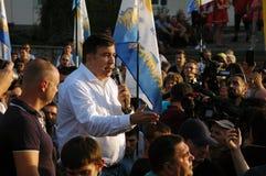 ZAPORIZHIA, UKRAINA †'Wrzesień 21, 2017: Mikheil Saakashvili polityczny spotkanie z ludźmi w kwadracie w centrum Obrazy Stock