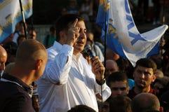 ZAPORIZHIA, UKRAINA †'Wrzesień 21, 2017: Mikheil Saakashvili polityczny spotkanie z ludźmi w kwadracie w centrum Zdjęcia Stock