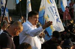 ZAPORIZHIA, UKRAINA †'Wrzesień 21, 2017: Mikheil Saakashvili polityczny spotkanie z ludźmi w kwadracie w centrum Obraz Royalty Free