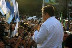 ZAPORIZHIA, UKRAINA †'Wrzesień 21, 2017: Mikheil Saakashvili polityczny spotkanie z ludźmi w kwadracie w centrum Fotografia Stock