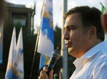 ZAPORIZHIA, UKRAINA †'Wrzesień 21, 2017: Mikheil Saakashvili polityczny spotkanie z ludźmi w kwadracie w centrum Zdjęcie Stock