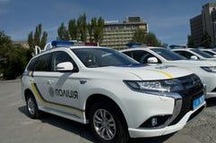 ZAPORIZHIA, UKRAINA Czerwiec 6, 2017: Mitsubishi samochody policyjni przy solenną ceremonią na kwadracie w ZAPORIZHIA, UKRAINA Obrazy Stock
