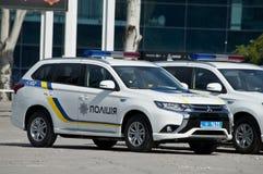ZAPORIZHIA, UKRAINA Czerwiec 6, 2017: Mitsubishi samochody policyjni przy solenną ceremonią na kwadracie w ZAPORIZHIA, UKRAINA Fotografia Royalty Free