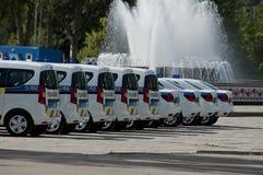 ZAPORIZHIA, UKRAINA Czerwiec 6, 2017: Mitsubishi samochody policyjni przy solenną ceremonią na kwadracie w ZAPORIZHIA, UKRAINA Fotografia Stock