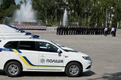 ZAPORIZHIA, UKRAINA Czerwiec 6, 2017: Mitsubishi samochody policyjni przy solenną ceremonią na kwadracie w ZAPORIZHIA, UKRAINA Obraz Stock