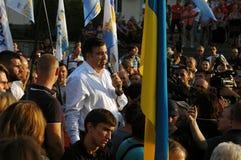 ZAPORIZHIA UKRAINA, Wrzesień, - 21, 2017: Mikheil Saakashvili polityczny spotkanie z ludźmi w kwadracie w centrum Zaporizhia mias Obrazy Royalty Free