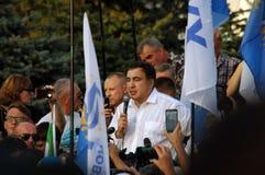 ZAPORIZHIA UKRAINA, Wrzesień, - 21, 2017: Mikheil Saakashvili polityczny spotkanie z ludźmi w kwadracie w centrum Zaporizhia mias Obraz Stock