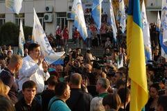 ZAPORIZHIA UKRAINA, Wrzesień, - 21, 2017: Mikheil Saakashvili polityczny spotkanie z ludźmi w kwadracie w centrum Zaporizhia mias Fotografia Stock
