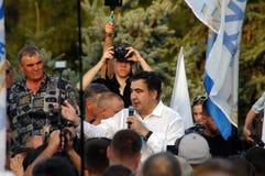 ZAPORIZHIA UKRAINA, Wrzesień, - 21, 2017: Mikheil Saakashvili polityczny spotkanie z ludźmi w kwadracie w centrum Zaporizhia mias Obraz Royalty Free