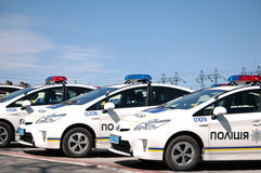 ZAPORIZHIA, UKRAINE - APRIL 16, 2016: Ukrainian police cars at the ceremony of taking an oath by the members of the new patrol pol Royalty Free Stock Photos
