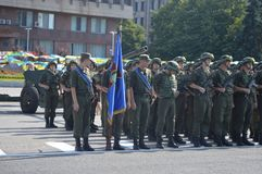 ZAPORIZHIA, UKRAINE August 24, 2016: Independence Day of Ukraine. Military march of Ukraine army Royalty Free Stock Photography