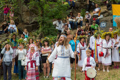 ZAPORIZHIA, UKRAINE-JUNE 21: Celebrating Kupala Night 21, 2014 i Stock Photo