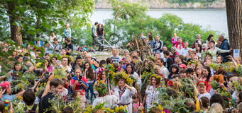ZAPORIZHIA, UKRAINE-JUNE 21: Celebrating Kupala Night 21, 2014 i Stock Image