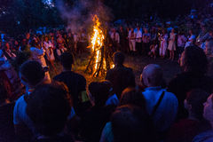 ZAPORIZHIA, UKRAINE-JUNE 21: Celebrating Kupala Night 21, 2014 i Royalty Free Stock Photo