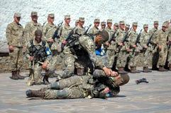 ZAPORIZHIA, UKRAINE - June 3, 2017: Combat reception of Ukraine special forces soldiers on Khortytsya island Stock Images