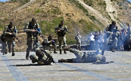 ZAPORIZHIA, UKRAINE - June 3, 2017: Combat reception of Ukraine special forces soldiers on Khortytsya island Royalty Free Stock Photos