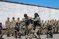ZAPORIZHIA, UKRAINE - June 3, 2017: Combat reception of Ukraine special forces soldiers on Khortytsya island Royalty Free Stock Image