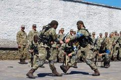 ZAPORIZHIA, UKRAINE - June 3, 2017: Combat reception of Ukraine special forces soldiers on Khortytsya island Royalty Free Stock Photography