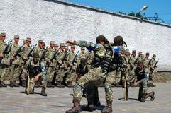 ZAPORIZHIA, UKRAINE - June 3, 2017: Combat reception of Ukraine special forces soldiers on Khortytsya island Stock Photo