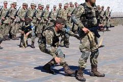 ZAPORIZHIA, UKRAINE - June 3, 2017: Combat reception of Ukraine special forces soldiers on Khortytsya island Royalty Free Stock Images
