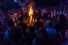 ZAPORIZHIA, UKRAINE-JUNE 21: Odświętności Kupala noc 21, 2014 i Zdjęcie Royalty Free