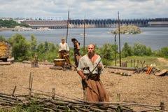 ZAPORIZHIA, UKRAINE-JUNE 21: Ukraińscy kozaczkowie 21, 2014 w Zapo Obraz Royalty Free