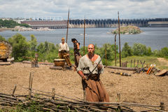 ZAPORIZHIA, UKRAINE-JUNE 21: Ukrainian Cossacks 21, 2014 in Zapo Royalty Free Stock Image