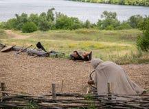 ZAPORIZHIA, UKRAINE-JUNE 21: Ukrainian Cossacks 21, 2014 in Zapo Stock Photos
