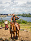 ZAPORIZHIA, UKRAINE-JUNE 21: Ukrainian Cossacks 21, 2014 in Zapo Royalty Free Stock Images