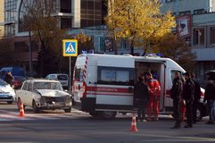 ZAPORIZHIA, UKRAINE October 10, 2017: ambulance team work at car accident Royalty Free Stock Photography