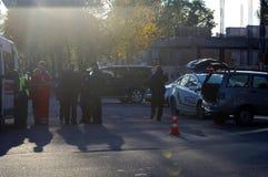 ZAPORIZHIA, UKRAINE October 10, 2017: Police work at car accident. Crash car Stock Photography