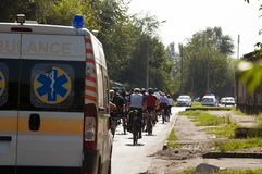 ZAPORIZHIA, UKRAINE – September 9, 2017: Ambulance car escort bikers in Day of sport in Ukraine Royalty Free Stock Images
