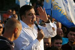 ZAPORIZHIA, UKRAINE - September 21, 2017: Mikheil Saakashvili political meeting with people in square in center of Zaporizhia city. ZAPORIZHIA, UKRAINE September royalty free stock photography