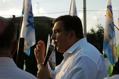 ZAPORIZHIA, UKRAINE - September 21, 2017: Mikheil Saakashvili political meeting with people in square in center of Zaporizhia city. ZAPORIZHIA, UKRAINE September stock image