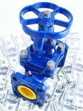 The zapornyj valve against money Royalty Free Stock Photography