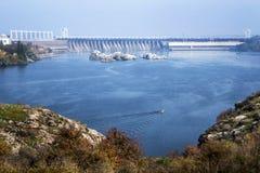 Zaporoska rzeka, widok Zaporoski Hydroelektryczny Obraz Royalty Free