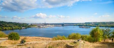 Zaporozhie hydroelectric plant. Panarama view on Zaporozhie hydroelectric plant Royalty Free Stock Photos