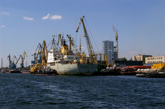Zaporozhye: Industrial port royalty free stock photography