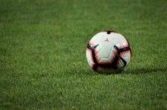 ZAPOROZHYE, UKRAINE - August 23, 2018: Football ball lying onthe grass during the UEFA Europa League match between. Zorya Luhansk vs RasenBallsport Leipzig ( stock photography
