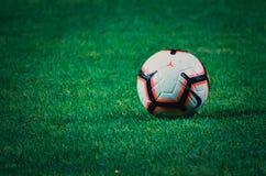ZAPOROZHYE, UKRAINE - August 23, 2018: Football ball lying onthe grass during the UEFA Europa League match between. Zorya Luhansk vs RasenBallsport Leipzig ( stock photos