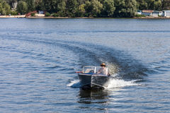 ZAPOROZHYE, UKRAINE-AUGUST 11: Motorboat 11, 2012 in Zaporozhye Stock Photography