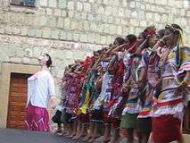Zapotec female dancers in Oaxaca, Mexico stock video footage