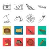 Zappa del piccone, testa di cavallo, carretto della ruota, fremito con le frecce Icone stabilite della raccolta di ovest selvaggi Immagine Stock Libera da Diritti