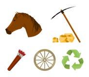 Zappa del piccone, testa di cavallo, carretto della ruota, fremito con le frecce Le icone stabilite della raccolta di ovest selva illustrazione vettoriale