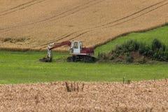 Zappatore con la capanna e terra su un paesaggio rurale del campo di grano Immagine Stock