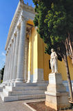 Zappeion. The Zappeion is a building in the National Gardens of Athens in the heart of Athens, Greece. It is generally used for meetings and ceremonies, both stock photos