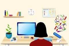 Zapracowana kobieta w jej biurowym pojęcie wektorze Zdjęcia Stock