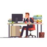 Zapracowany i zmęczony księgowy Biznesowy stres royalty ilustracja