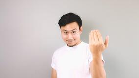 Zapraszający ręka znaka lub dzwoniący Zdjęcia Stock
